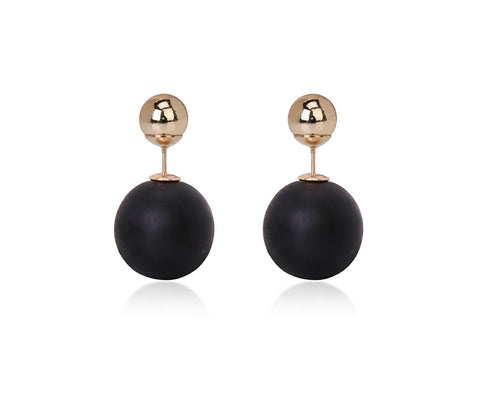 double sided stud earrings - black and gold - ELEVALE