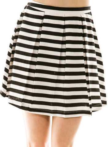 a-line striped skirt - black - ELEVALE