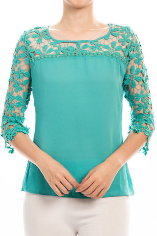 crochet sleeve blouse | ELEVALE