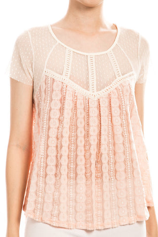 mixed lace blouse - peach | ELEVALE