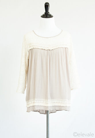 lace trim blouse | ELEVALE