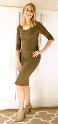 long sleeve bodycon midi dress - olive | ELEVALE