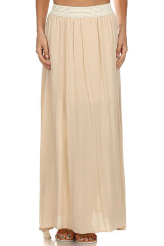 banded maxi skirt | ELEVALE
