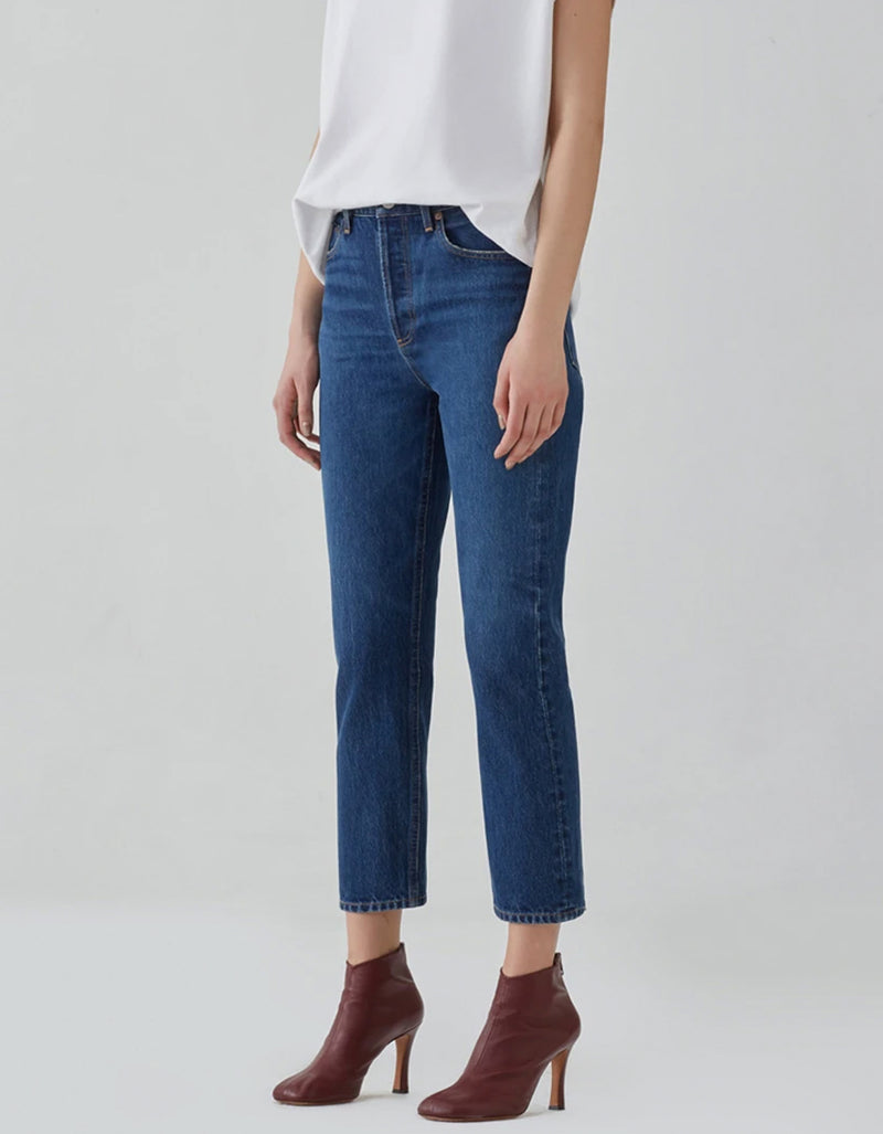 AGOLDE Riley Crop Hi Rise Straight Jean Wink
