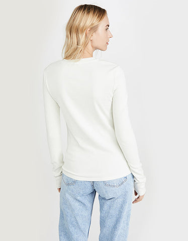 AGOLDE Long Sleeve Crew Neck Ribbed Tee Plaster
