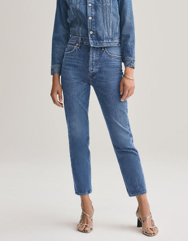 Agolde Riley Crop Hi Rise Straight Jean in Air Blue