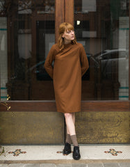 Ali Golden Mock Neck Dress Copper