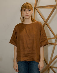 Assembly Label Boxy Linen Top Terracotta