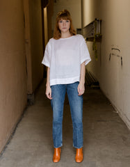 Assembly Label Boxy Linen Top White