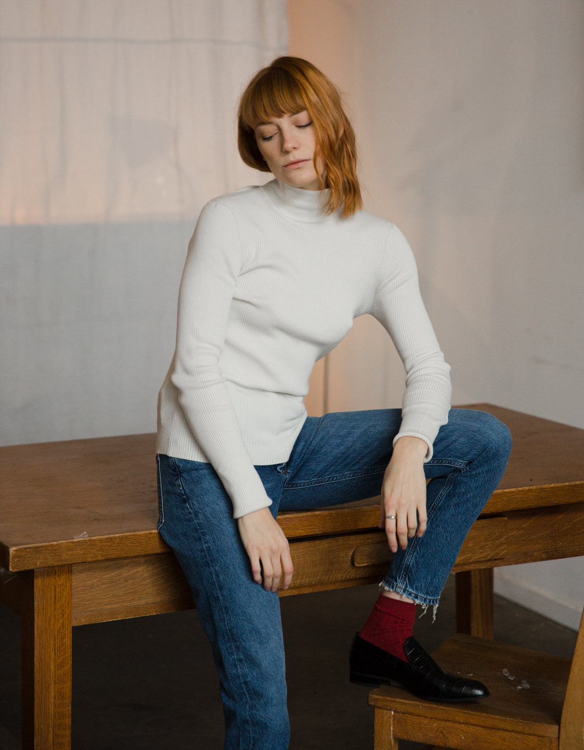 Assembly Label Turtleneck Knit Chalk White