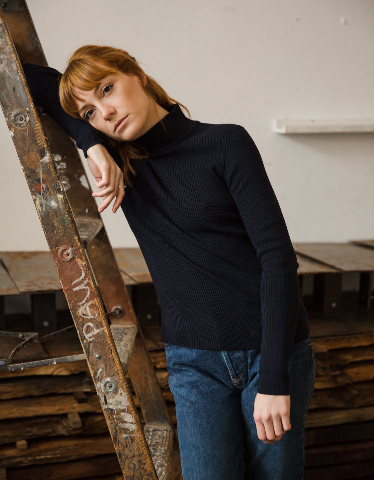 Assembly Label Turtleneck Knit True Navy