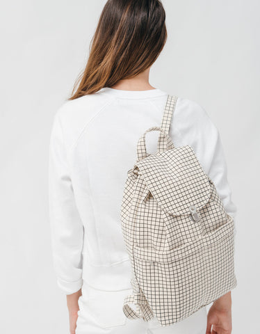 Baggu Backpack Natural Grid - Still Life - 2