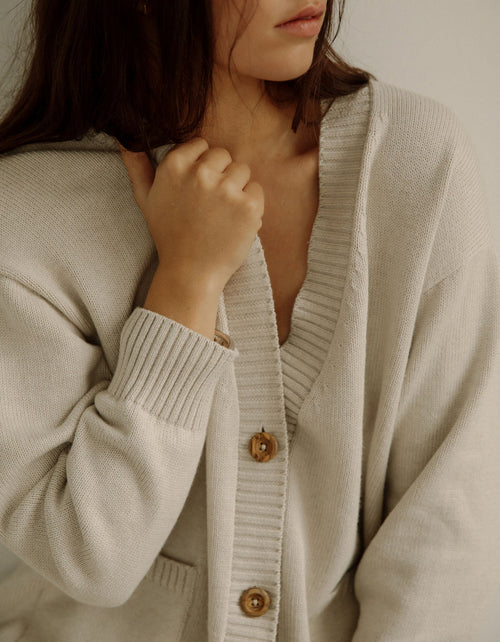 Bare Knitwear Dusk Cardigan in Natural
