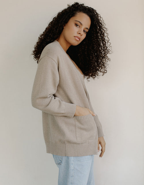 Bare Knitwear Dusk Cardigan in Fawn