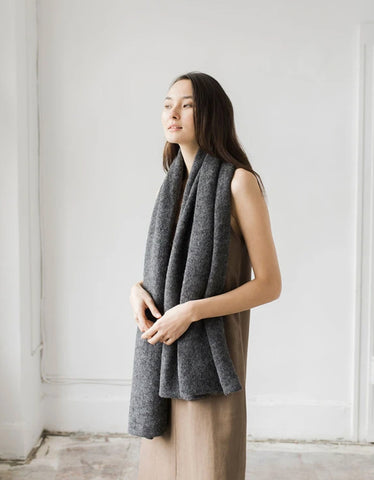 Bare Knitwear Travel Wrap Charcoal