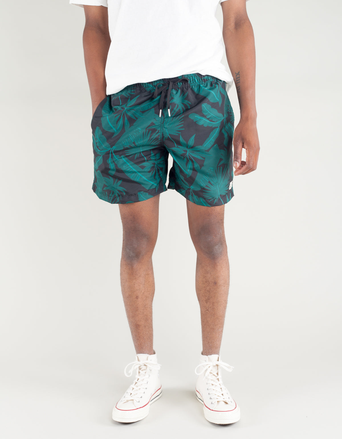 Bather Tropical Palms Swim Trunk Black