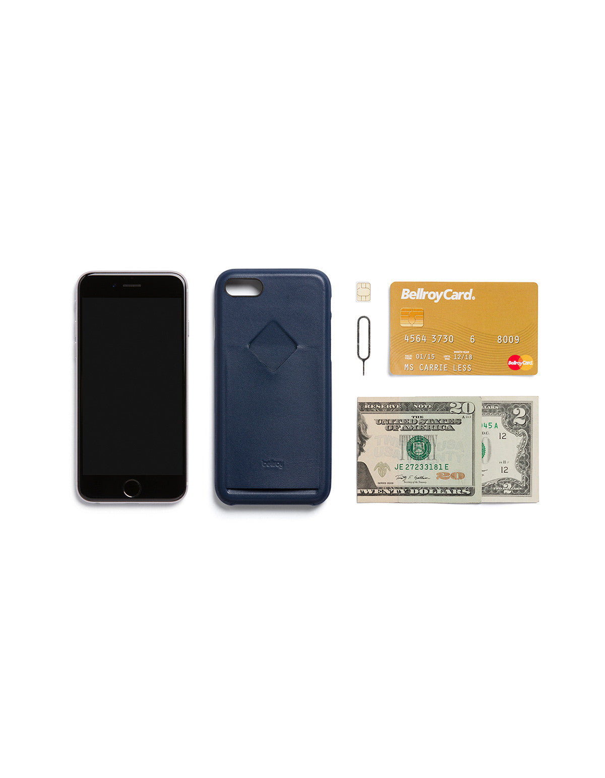 Bellroy Phone Case i7 1 Card Blue Steel - Still Life - 5