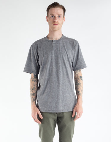 Brixton Basic Short Sleeve Henley Heather Grey