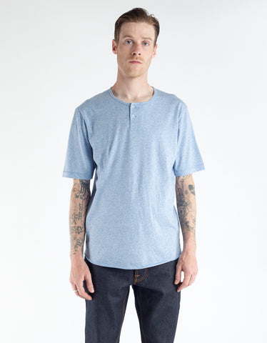 Brixton Berkeley Short Sleeve Henley Heather Blue