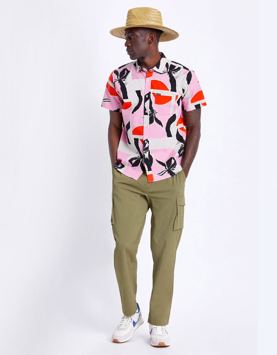 Brixton Charter Print Shirt in Pink/Red