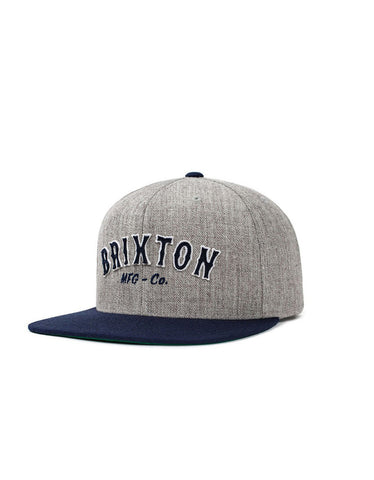 Brixton Harold Snapback Light Heather Grey Navy - Still Life