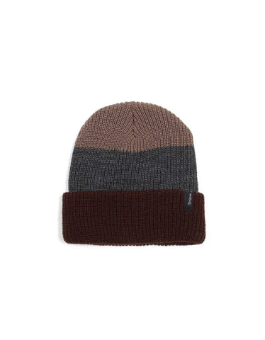 Brixton Heist Three Stripe Beanie Brown Charcoal - Still Life