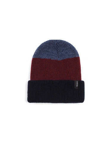 Brixton Heist Three Stripe Beanie Navy Burgundy - Still Life