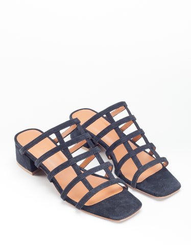 By Far Grid Sandal Black Suede