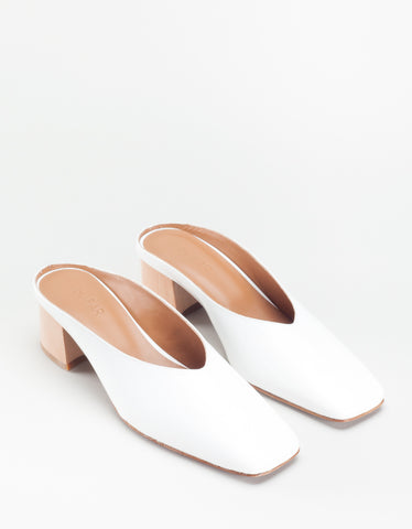 By Far Karen Mule White Patent Leather