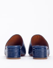 By Far Scandi Mule Croco Dark Blue