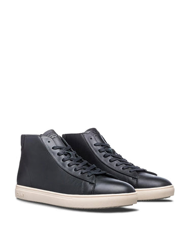 Clae Bradley Mid, Black Milled Tumbled Leather