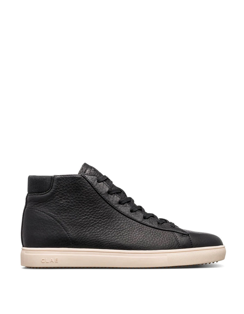 Clae Bradley Mid Sneaker in Black Pebbled Leather