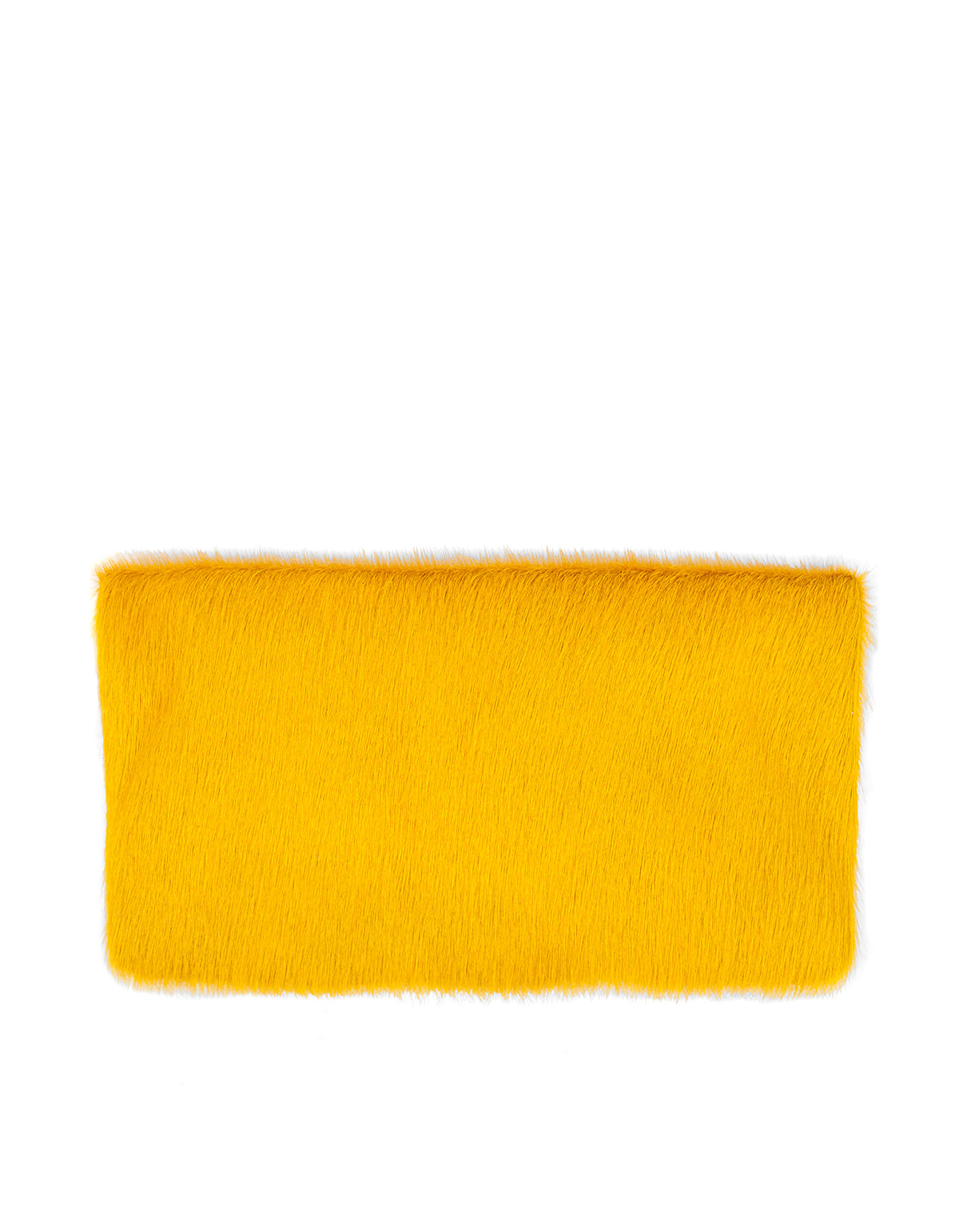 Clare V. Foldover Clutch Yellow Hair-On