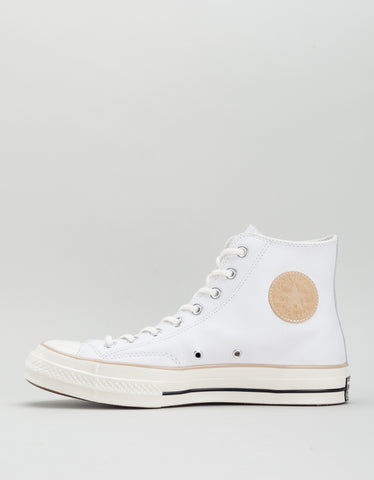 Converse Men's Chuck 70 Leather High Top White Light Fawn Egret