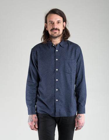 Corridor Flannel Shirt Flecked Navy