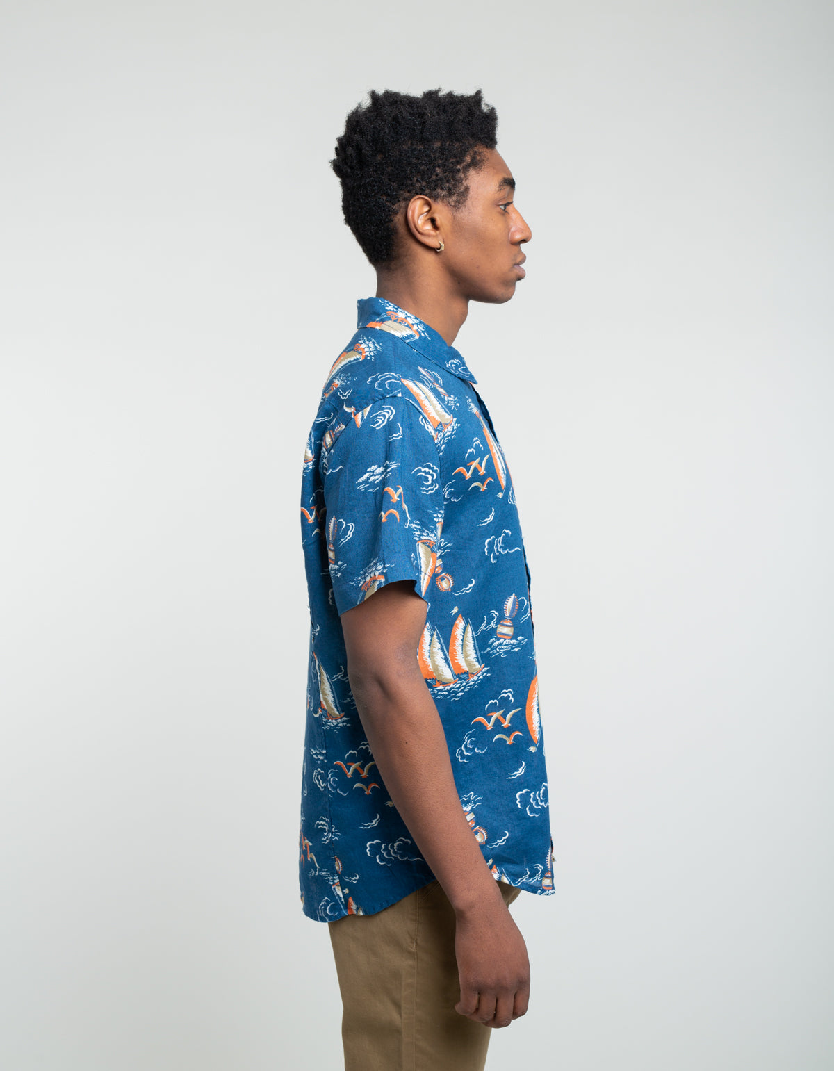 Corridor Heavy Linen Sailing Time Short Sleeve Shirt Blue