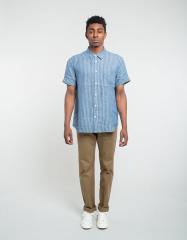 Corridor Linen Stripe Short Sleeve Shirt Blue
