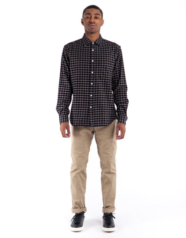Corridor Wool Blend Check Shirt Black