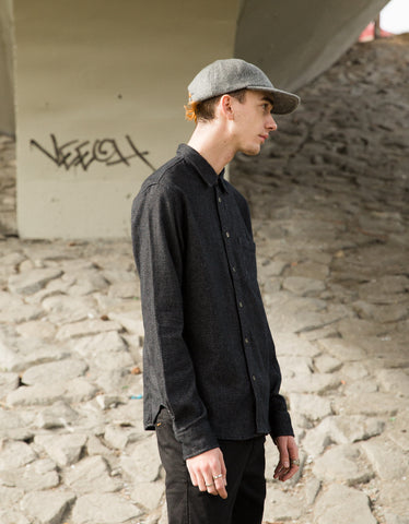 Corridor Brushed Flecked Flannel Shirt Black