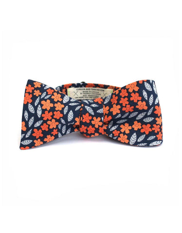 Cursor and Thread Floral Cotton Bow Tie Blue
