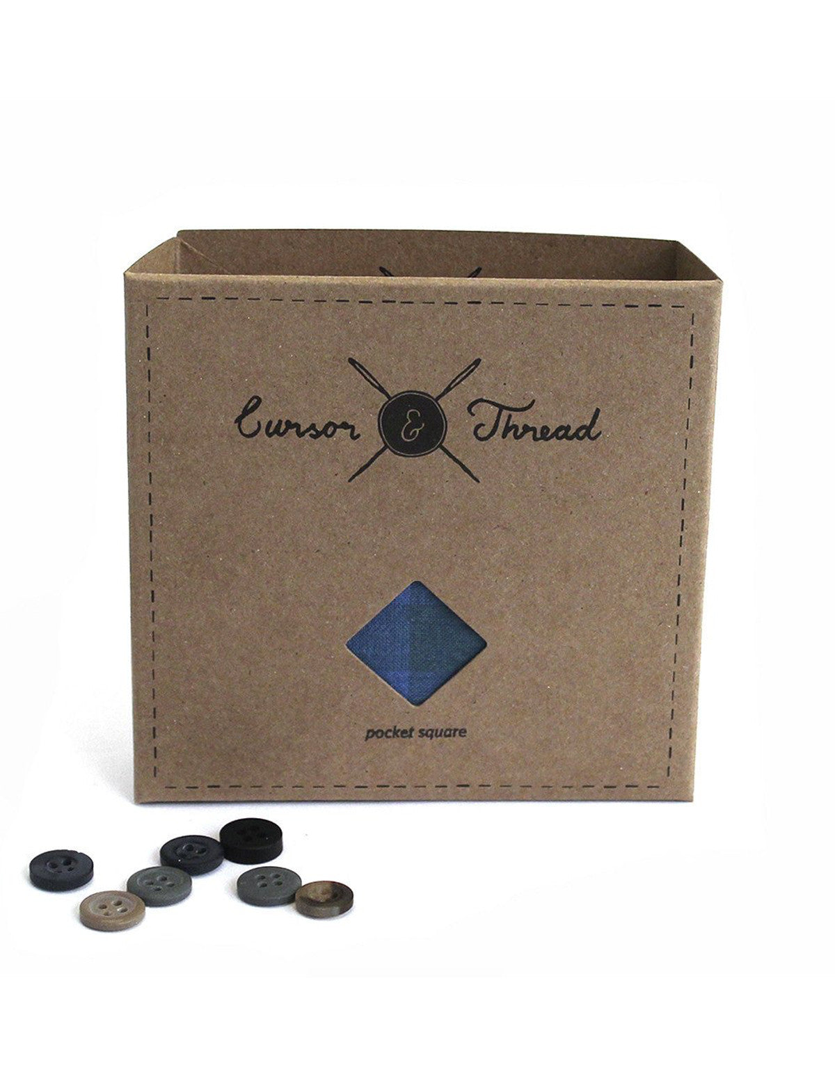 Cursor and Thread Oak Check Pocket Square Blue Green
