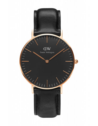 Daniel Wellington Womens Classic Black Sheffield Watch Rose Gold