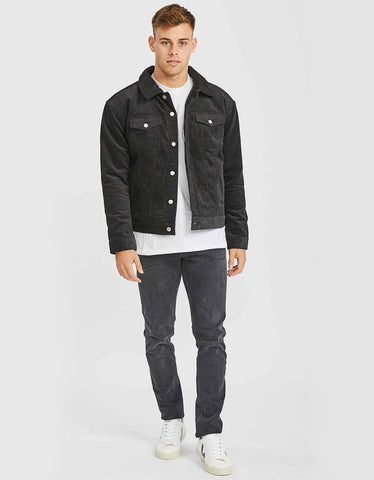 Dr. Denim Caleb Sherpa Coat Down Black