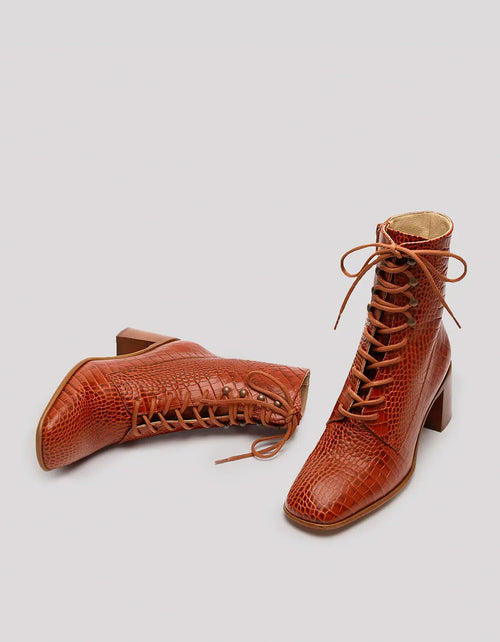 E8 by Miista Emma Lace-Up Boot in Burnt Orange Croc