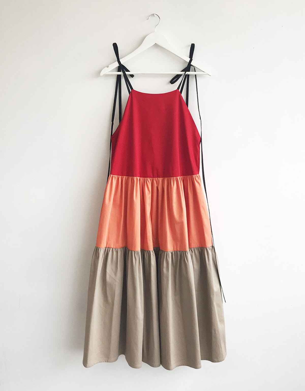 Eliza Faulkner Colour-Blocked Cece Dress, Red Orange Beige
