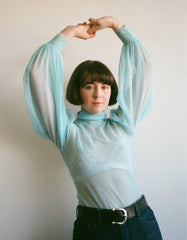Eliza Faulkner Mesh Dolly Turtleneck Blue