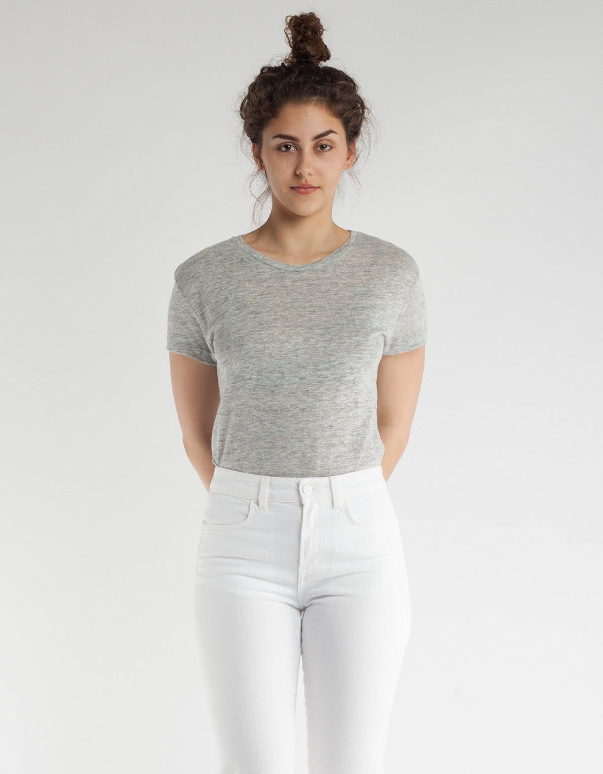 Filippa K Linen T-Shirt Light Grey Melange