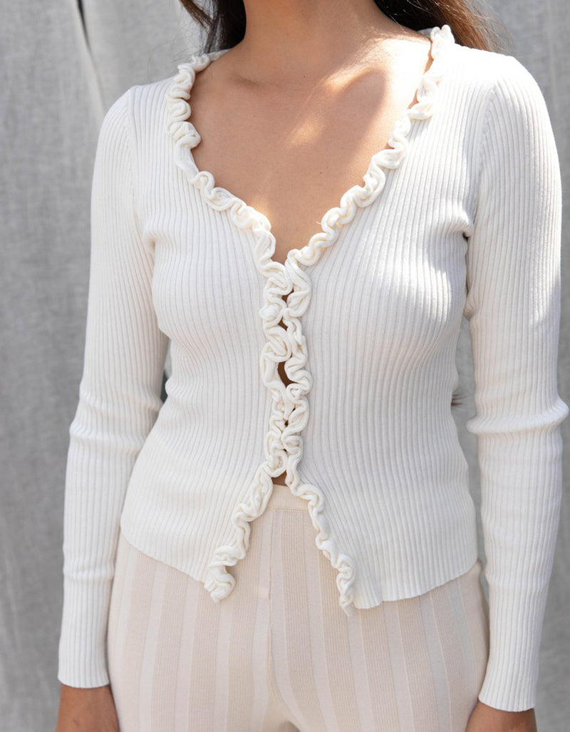 Find Me Now Charlie Ruffled Top White