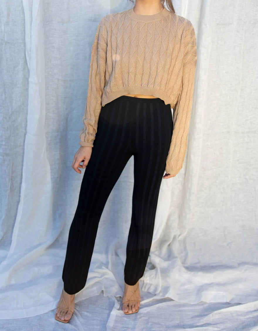 Find Me Now Dale Ribbed Knit Pant Black