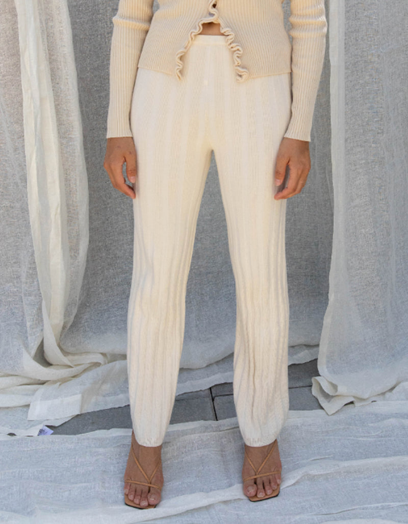 Find Me Now Dale Ribbed Pant Cream